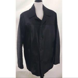 J.Crew Black leather coat jacket M bomber car moto